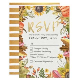 Wedding RSVP Reply Autumn Maple Fall Leaf Pumpkin Card
