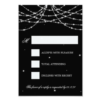 Wedding RSVP Sparkling String Black Card