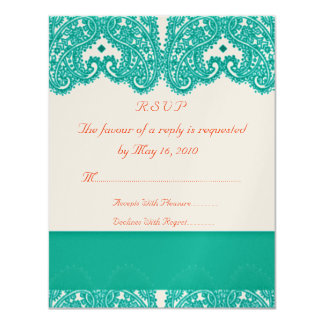 Wedding RSVP Teal and Coral 11 Cm X 14 Cm Invitation Card