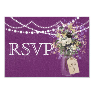Wedding Rustic Purple Country Flower Mason RSVP Card