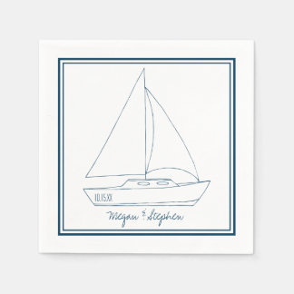 Wedding Sailboat Disposable Serviette