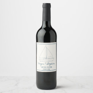 Wedding Sailboat Wine Label