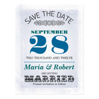 wedding save the date blue vintage postcards