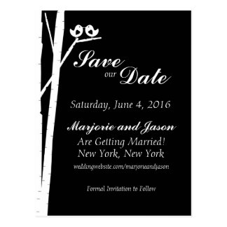 Wedding Save the Date Card Birch Tree Birds Black