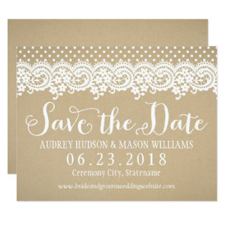 Wedding Save the Date Card | Lace and Kraft