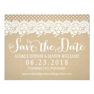 Wedding Save the Date Card | Lace and Kraft 11 Cm X 14 Cm Invitation Card