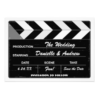 Wedding Save the Date Card Movie Clap Board Announcements