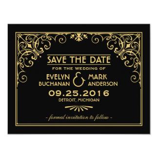 Wedding Save the Date Cards | Art Deco Style 11 Cm X 14 Cm Invitation Card