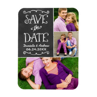 Wedding Save the Date | Chalkboard Collage Magnet