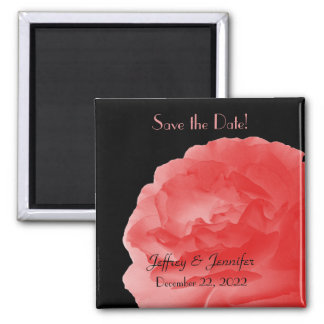 Wedding Save the Date Coral Rose Magnet Refrigerator Magnets