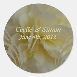 Wedding Save the Date Cream Floral Designs Round Sticker