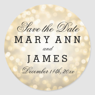 Wedding Save The Date Gold Glitter Lights Round Sticker