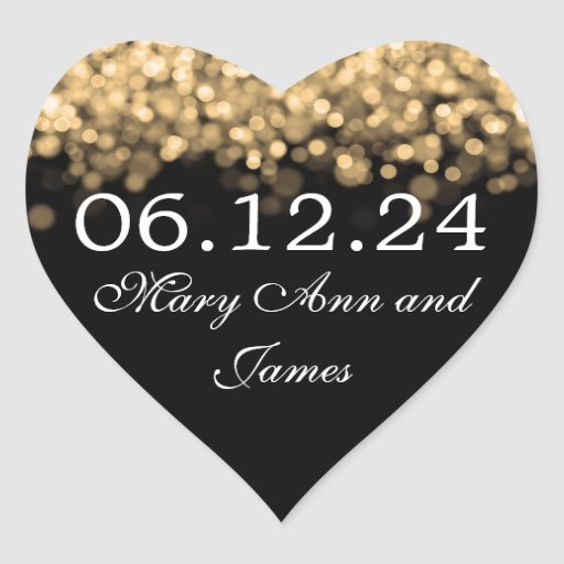 Wedding Save The Date Gold Lights Stickers