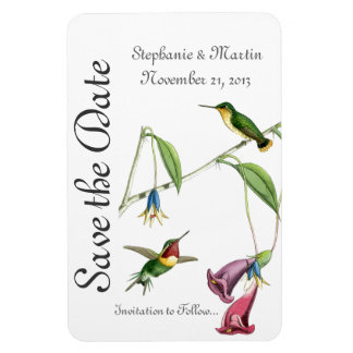 Wedding Save the Date Hummingbirds Bird Flowers Magnet