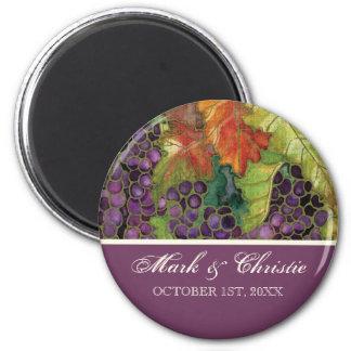 Wedding Save the Date Magnet Autumn Grape Leaf