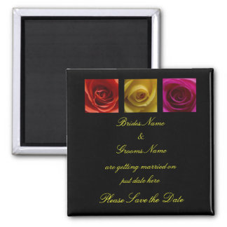 Wedding Save The Date Magnet - Roses pink yellow o