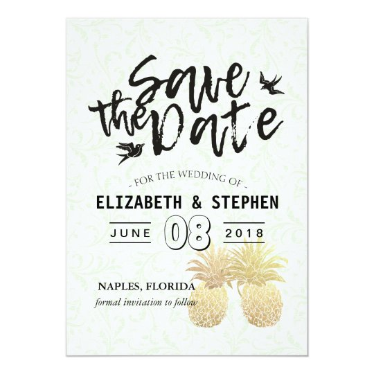 Wedding Save The Date Modern Gold Pineapple Couple Card