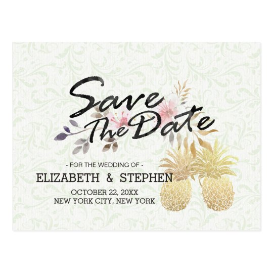 Wedding Save The Date Modern Gold Pineapple Couple Postcard