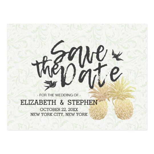 Wedding Save The Date Modern Gold Pineapple Couple Postcard