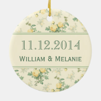 Wedding Save the Date ornament yellow rose Christmas Ornaments