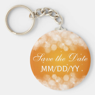 Wedding Save The Date Party Sparkle Orange Key Ring