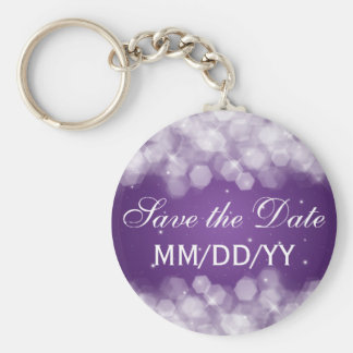 Wedding Save The Date Party Sparkle Purple Basic Round Button Key Ring