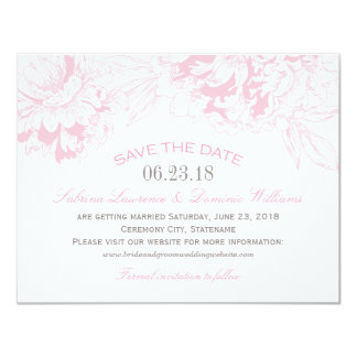 Wedding Save the Date | Pink Floral Peony Design 11 Cm X 14 Cm Invitation Card