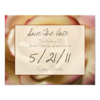 Wedding Save The Date - Pink & Yellow Rose 4.25x5.5 Paper Invitation Card