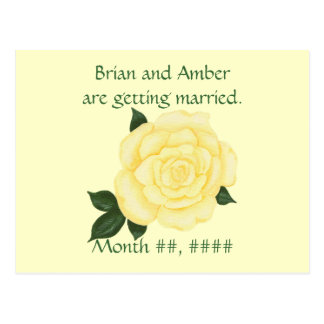 Wedding Save the date Postcards, Yellow Rose Postcard