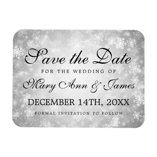Wedding Save The Date Silver Winter Wonderland Rectangular Photo Magnet