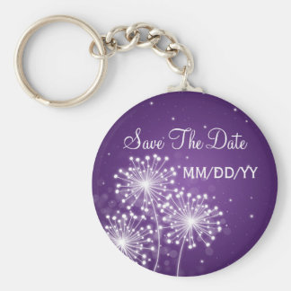 Wedding Save The Date Summer Sparkle Purple Basic Round Button Key Ring