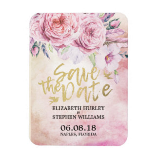 Wedding Save The Date Watercolor Floral & Feathers Magnet