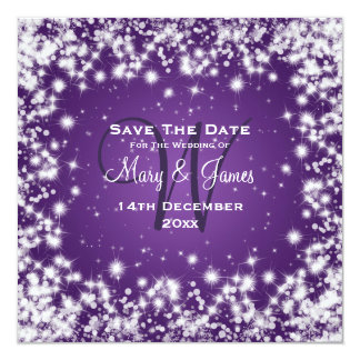 Wedding Save The Date Winter Sparkle Purple 13 Cm X 13 Cm Square Invitation Card