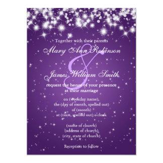 Wedding Save The Date Winter Sparkle Purple 17 Cm X 22 Cm Invitation Card