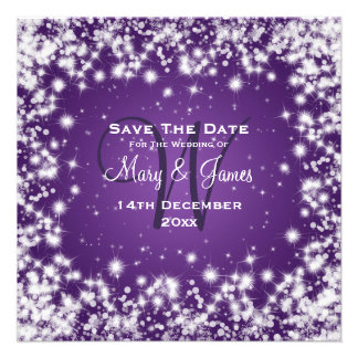Wedding Save The Date Winter Sparkle Purple Custom Invitation