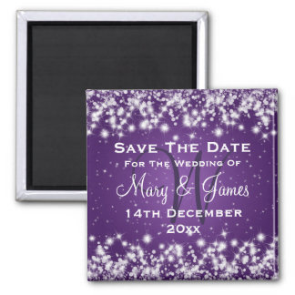 Wedding Save The Date Winter Sparkle Purple Square Magnet