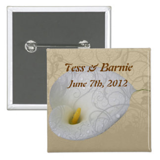 Wedding Save the Date with Dew drop White Lily 15 Cm Square Badge