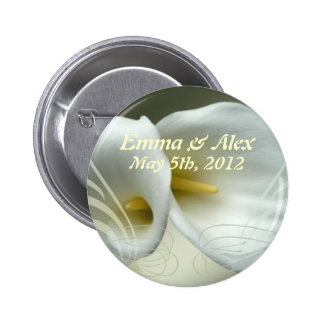 Wedding Save the Date with White Lilies Design 6 Cm Round Badge
