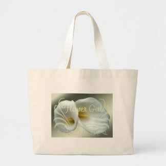 Wedding Save the Date with White Lilies Design Jumbo Tote Bag