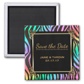 Wedding Save the Date Zebra Stripes Rainbow Colors Magnet