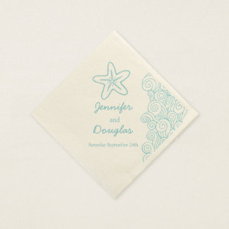 Wedding sea star swirl aqua cream paper napkin