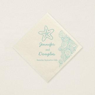 Wedding sea star swirl aqua cream paper napkin disposable napkin