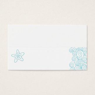 Wedding sea star swirls aqua white place cards