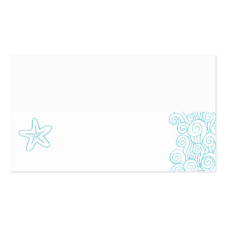 Wedding sea star swirls aqua white place cards pack of standard business cards