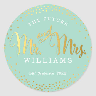 WEDDING SEAL stylish mini gold confetti mint Round Sticker