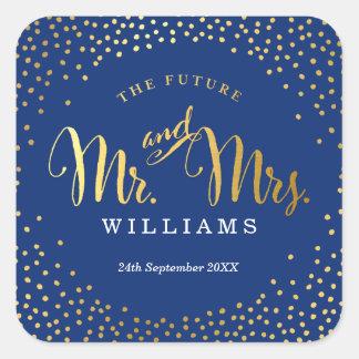 WEDDING SEAL stylish mini gold confetti navy Square Sticker