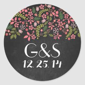 wedding seal with rustic floral chalkboard round stickers