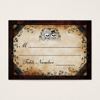 Wedding Seating - Brown Gothic Halloween Skeletons Business Card