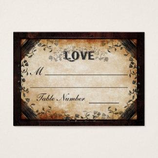 Wedding Seating Card - Brown Gothic Halloween LOVE
