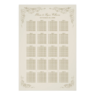 Wedding Seating Chart | Antique Grape Vines Poster